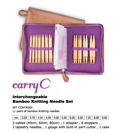 Interchangeable Bamboo Knitting Needle Set carryC